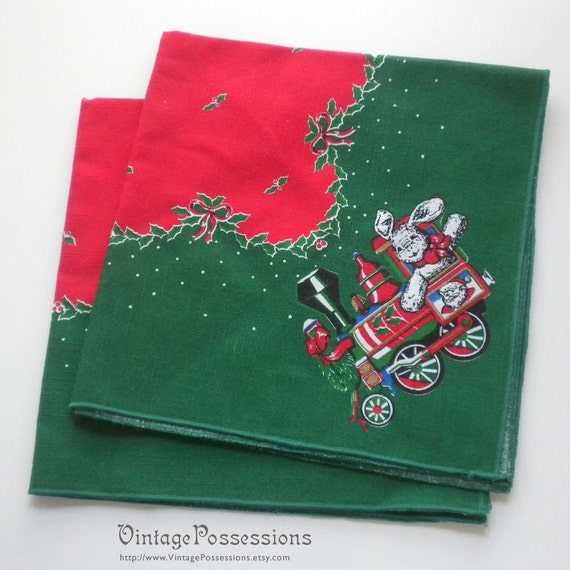 2 Vintage Christmas Napkins - Bunny Train and Holly - Red and Green Cloth Napkins