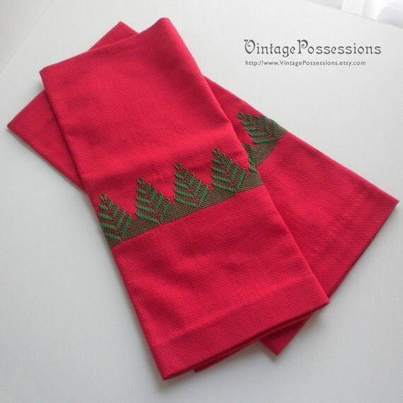Vintage Christmas Kitchen Hand Towels With Embroidered Pine