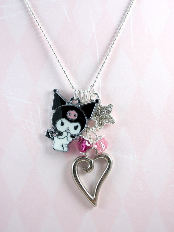 Kuromi My Melody Crystal Charm Necklace