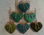Green Heart Ornaments  - Set of 6 - Reversible -- N0.2