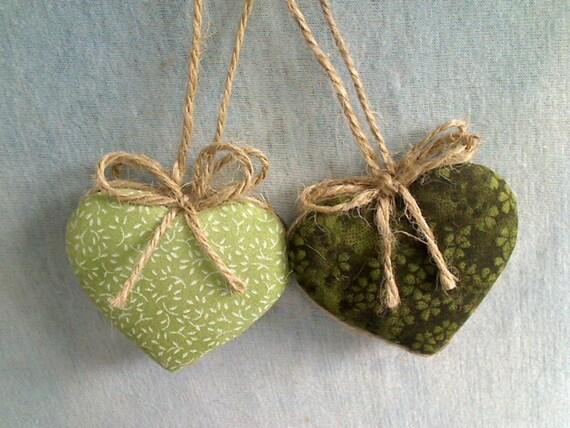 Heart Ornaments - Green  - Set of 2 - Reversible -- N0.1