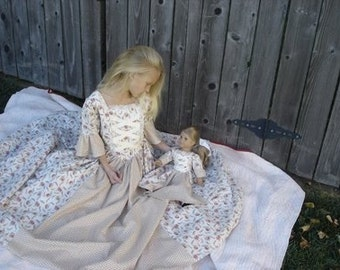 CUSTOM Matching American Girl Doll and Girl Colonial Period Dress Costume Size 3 -14