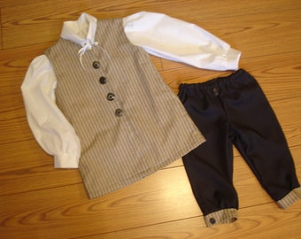 Boy's Williamsburg Colonial 3 pc Costume Size 3 to 14 Waistcoat Vest Breeches Knickers Shirt outfit