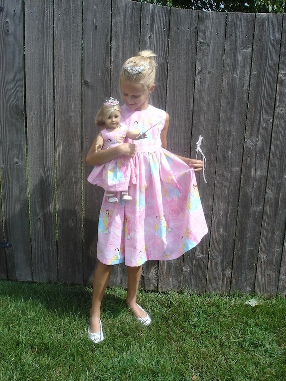 CUSTOM Size Matching child and American Girl Doll Dresses Disney Princess Deluxe with Tiara Crown Wands