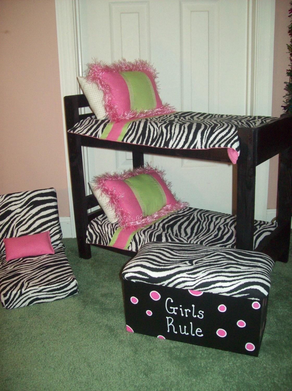 Bunk Bed Bedroom Set American Girl Doll Black Zebra And Pink