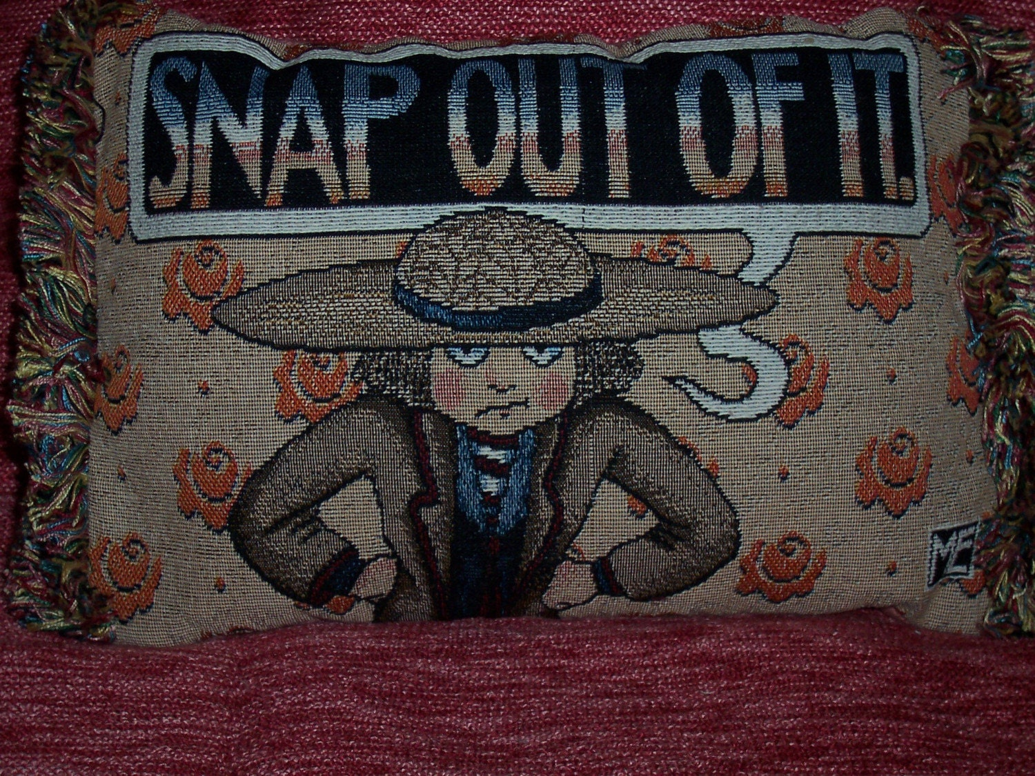 Snap Out Of It Mary Engelbreit Tapestry Pillow