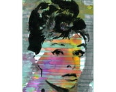 Audrey Hepburn Watercolor Print Painting Mixed Media Acrylic Painting Poster Art face portrait fashion model