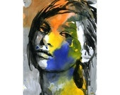 Painting Watercolor Print Face Limited Edition 35/100