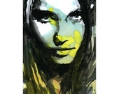 Print Painting Mixed Media watercolor Acrylic Painting Poster Art face portrait fashion model