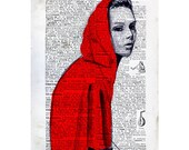 Little RED RIDING HOOD illustration nursery art - little red riding hood art print - vintage home decor dictionary print