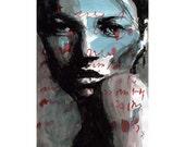 Face Painting Print - Blue Face Watercolor digital print 20