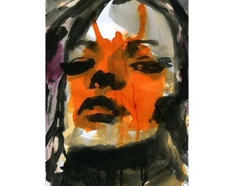 Mixed Media Print Watercolor Acrylic Painting Poster Art face portrait fashion model
