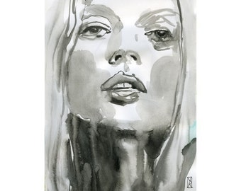 Print Watercolor painting Mixed Media Woman Face model fashion art portrait