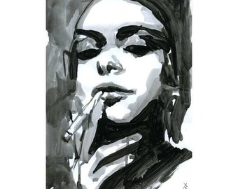 Painting Print Watercolor Black and White- limited edition 33/100