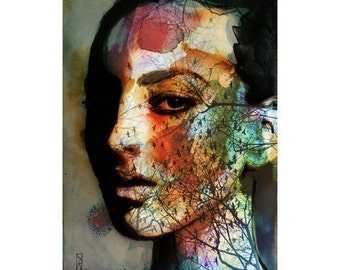 Watercolor Print Painting Mixed Media Acrylic Painting Poster Art face portrait fashion model