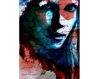 Print Mixed Media Watercolor Acrylic Painting Poster Art face portrait fashion model