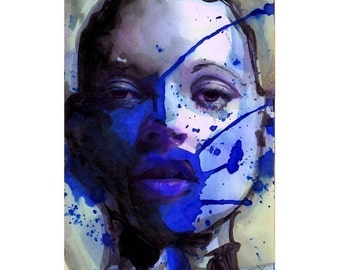 Blue Girl Print Poster Art - Limited Edition 28/100
