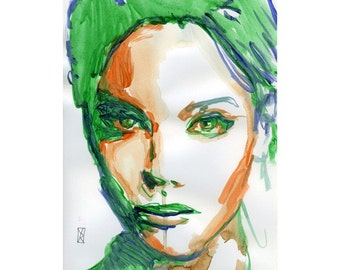 Acrylic Painting Art - Print Green Woman Limited Edition