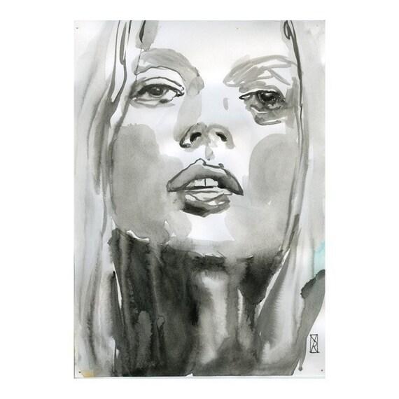 Print Art - Watercolor Mixed Media Woman Face 8