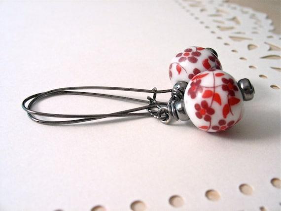 Red Flower Cherry Blossom Dangle Earrings : ceramic glass beads, long gunmetal ear wires // LAST PAIR //
