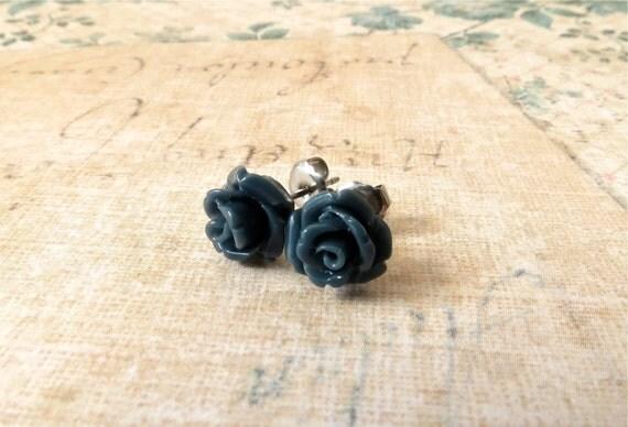HOLIDAY SALE, Little Flower Handmade Post Earrings : dark blue / navy rosebuds, surgical steel posts for sensitive ears