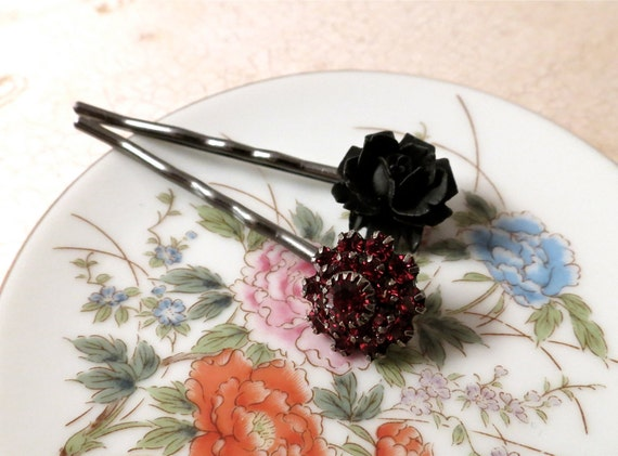 Red Swarovski and Black Rose Hairpins : rich florals on gunmetal bases