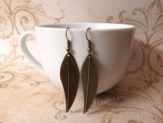 Rustic Antique Bronze Metal Feather Charm Earrings : lightweight boho southwestern accessories