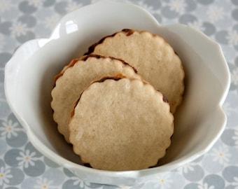 Chocolate Ganache Filled Vanilla Bean Sandwich Cookies - 2 dozen homemade cookies