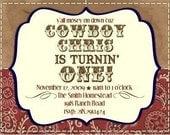 PRINTABLE personalized cowboy birthday party invitation