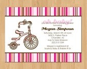 PRINTABLE Retro girl  tricycle baby shower or party invitation