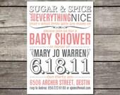 PRINTABLE modern TYPEFACE inspired baby shower invitation