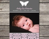 Printable Custom 5x7 Damask and Butterfly Photo Birth Announcement