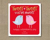 Printable personalized little birdie Valentine