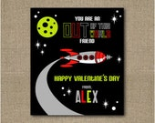 Printable personalized Out of This World Rocket Ship Valentine