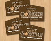 Printable personalized One Smart Cookie teacher Valentine hang tags