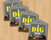 Printable personalized Construction themed I Dig You Valentine hang tags