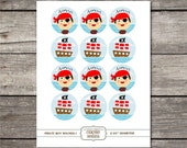 Printable 2 in. round Pirate Boy cupcake toppers, stickers, table decor, scrapbooking embellishments