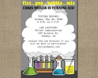 PRINTABLE SCIENCE themed birthday party invitation