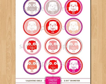 Valentines Day OWL themed PRINTABLE collage sheet - 2 IN circles for treat bag tags, scrapbooking, crafts, cupcake toppers and more