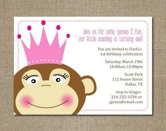 PRINTABLE modern MONKEY PRINCESS themed baby girl shower or birthday party invitation