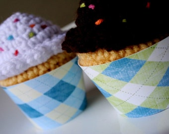 Printable argyle cupcake wrappers in assorted colors - perfect for baby showers, birthday parties, bridal showers