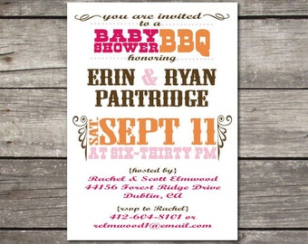 PRINTABLE BBQ-themed baby shower, birthday party, wedding shower, rehearsal dinner, bachelor party, anniversary invitations
