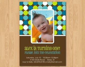 Printable custom bright dots photo birthday party invitation or birth announcement
