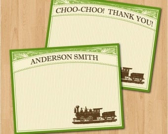 PRINTABLE Vintage Letterpress Train Personalized Notecards or Thank You Cards
