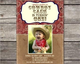 Printable Custom Cowboy Photo Birthday Party Invitation
