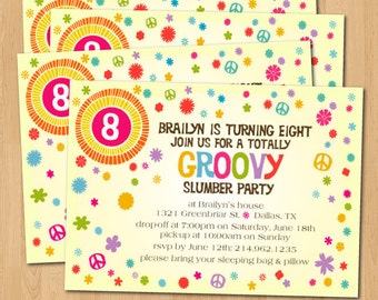 PRINTABLE Groovy sixties themed birthday party invitation