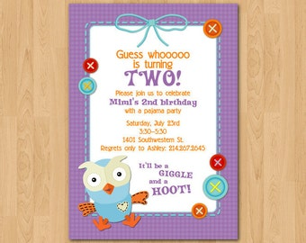PRINTABLE Giggle & Hoot Owl birthday party invitation