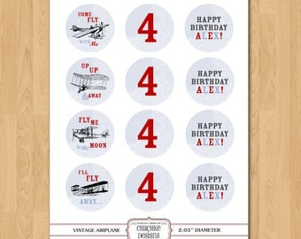 Printable 2 IN ROUND Vintage Airplane cupcake toppers personalized for birthdays, showers, parties