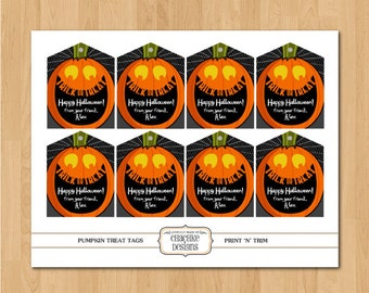 Printable Personalized Pumpkin themed party favor or goody bag tags