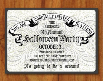PRINTABLE Spooky Floral Halloween Party Invitation or Evite